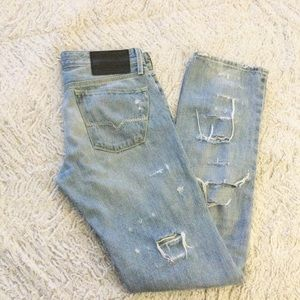 Guess Heavily Distressed Straight Leg Jeans
